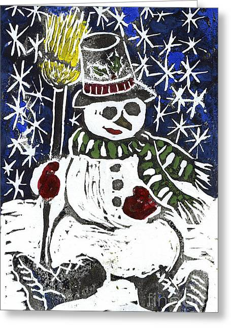 Relief Printing Greeting Cards - Snowman Greeting Card by Ellen Miffitt