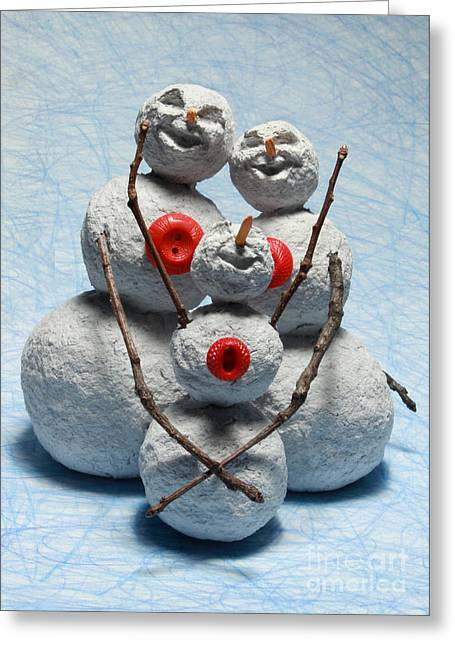 Happy Sculptures Greeting Cards - Snowman Family Christmas Card Greeting Card by Adam Long