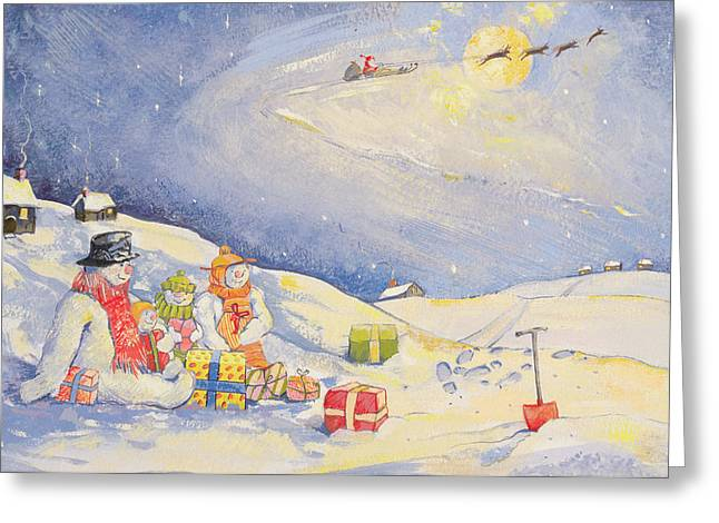 Sledge Greeting Cards - Snowman Family Christmas Wc On Paper Greeting Card by David Cooke
