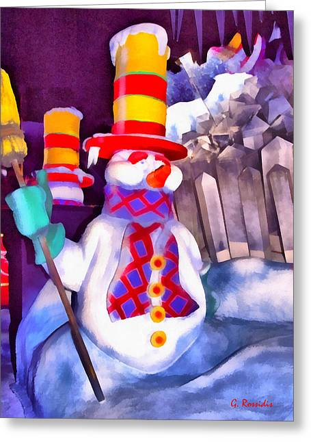 Super Stars Greeting Cards - Snowman Greeting Card by George Rossidis