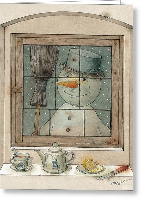 Snowman. Greeting Cards - Snowman Greeting Card by Kestutis Kasparavicius