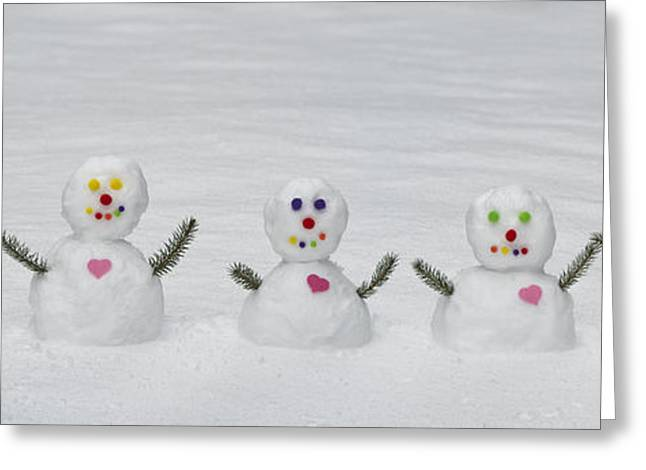 Snowman Christmas Card Greeting Cards - Snowman Love  Greeting Card by Tim Gainey