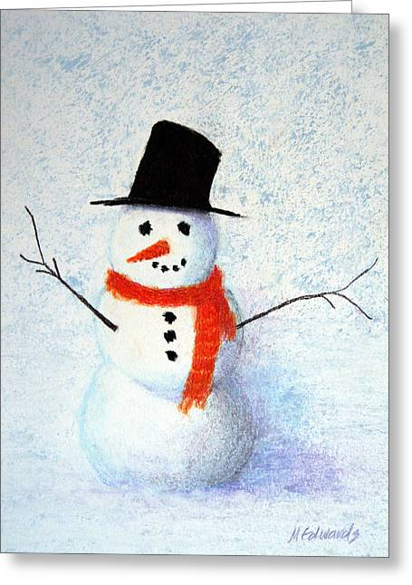 Party Invite Pastels Greeting Cards - Snowman Greeting Card by Marna Edwards Flavell
