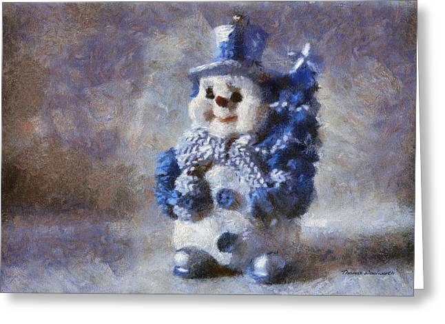 Canvas. Poster. Greeting Card. Christmas Card. Old Wagon. Vintage Wagon. Antiques. Woods. Trees. Forest. Path. Greeting Cards - Snowman Photo Art 02 Greeting Card by Thomas Woolworth