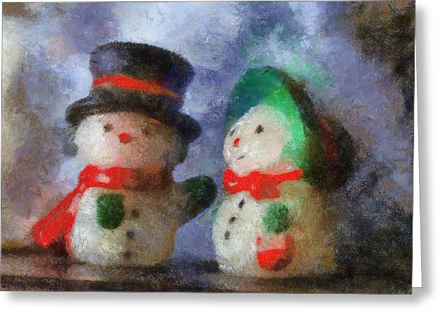 Abstract Style Greeting Cards - Snowman Photo Art 10 Greeting Card by Thomas Woolworth