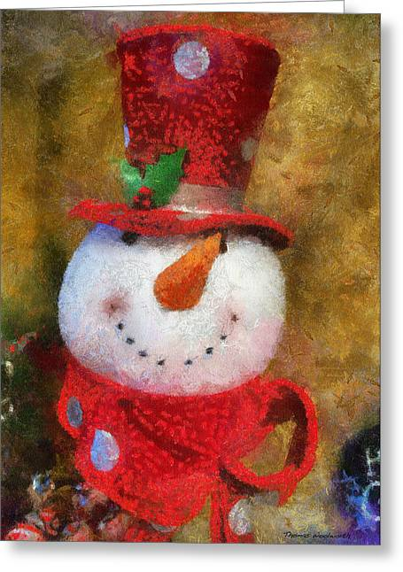 Canvas. Poster. Greeting Card. Christmas Card. Old Wagon. Vintage Wagon. Antiques. Woods. Trees. Forest. Path. Greeting Cards - Snowman Photo Art 19 Greeting Card by Thomas Woolworth
