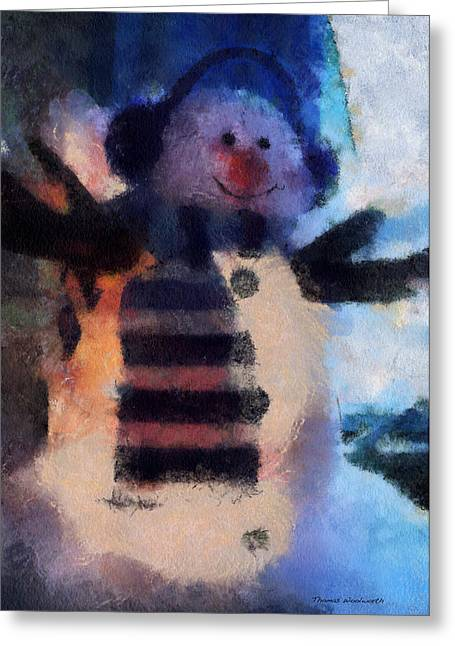 Canvas. Poster. Greeting Card. Christmas Card. Old Wagon. Vintage Wagon. Antiques. Woods. Trees. Forest. Path. Greeting Cards - Snowman Photo Art 43 Greeting Card by Thomas Woolworth