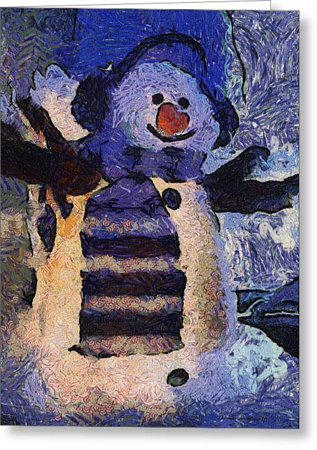 Canvas. Poster. Greeting Card. Christmas Card. Old Wagon. Vintage Wagon. Antiques. Woods. Trees. Forest. Path. Greeting Cards - Snowman Photo Art 44 Greeting Card by Thomas Woolworth
