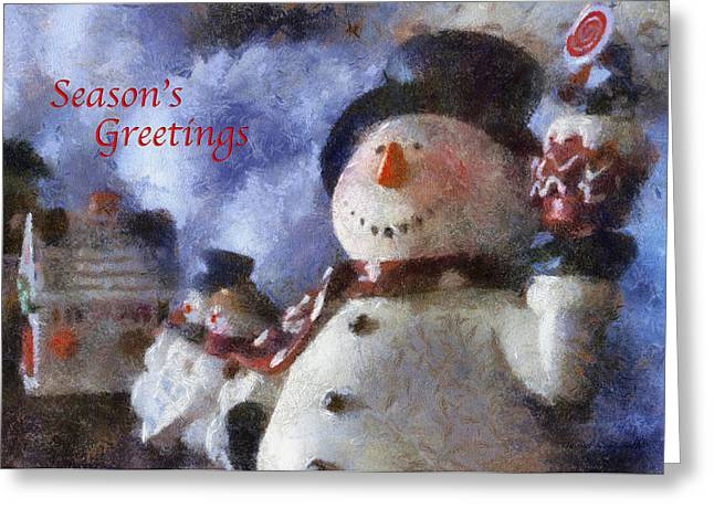 Canvas. Poster. Greeting Card. Christmas Card. Old Wagon. Vintage Wagon. Antiques. Woods. Trees. Forest. Path. Greeting Cards - Snowman Season Greetings Photo Art 01 Greeting Card by Thomas Woolworth
