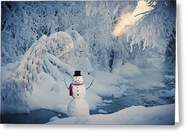 Snowy Evening Greeting Cards - Snowman Standing Next To A Stream With Greeting Card by Kevin Smith
