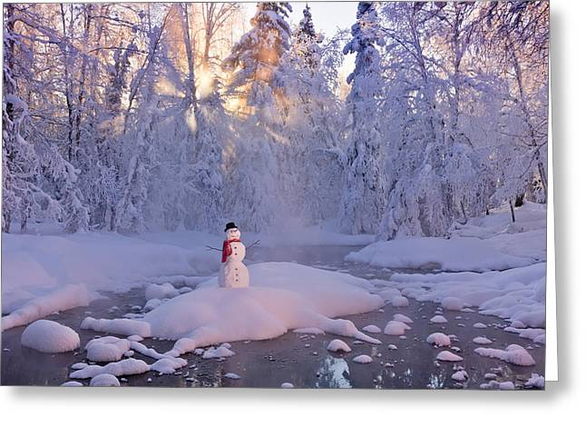 Recently Sold -  - Snowy Evening Greeting Cards - Snowman Standing On A Small Island Greeting Card by Kevin Smith