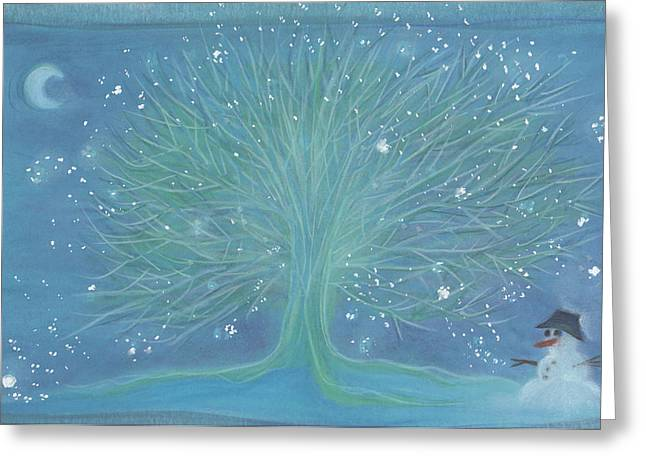 First Star Art Pastels Greeting Cards - Snowman Tree by jrr Greeting Card by First Star Art