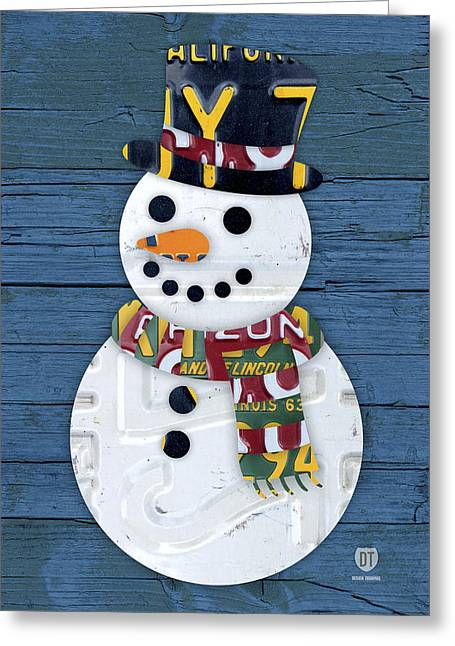 Snowman Greeting Cards - Snowman Winter Fun License Plate Art Greeting Card by Design Turnpike