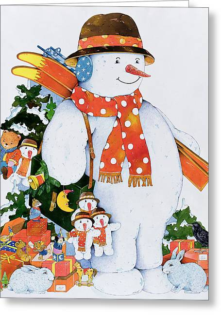 Toys Greeting Cards - Snowman With Skis, 1998 Wc On Paper Greeting Card by Christian Kaempf