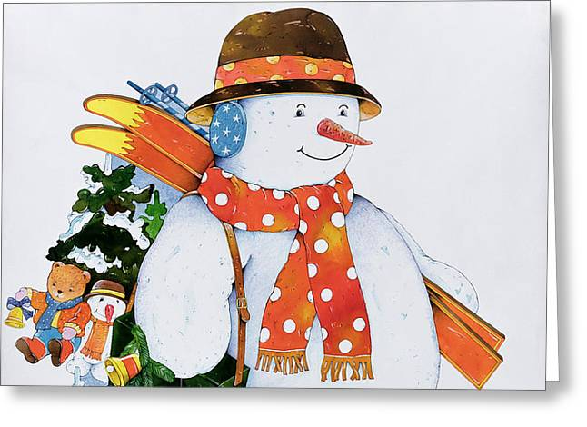Snowman With Skis Greeting Card by Christian Kaempf