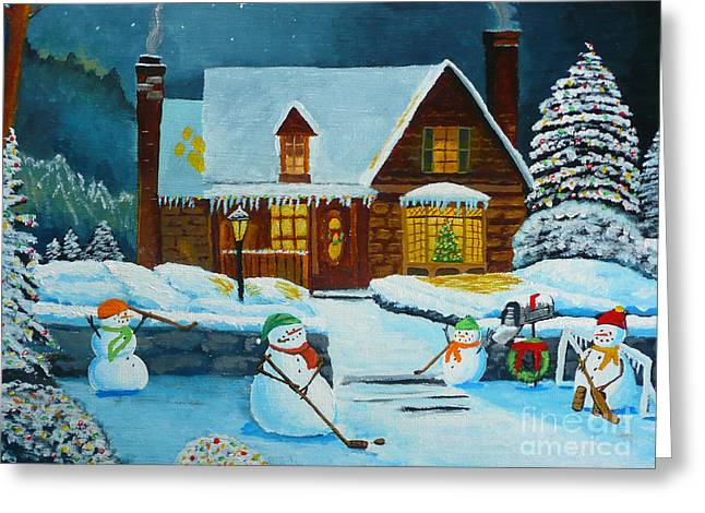 Hockey Paintings Greeting Cards - Snowmans Hockey Greeting Card by Anthony Dunphy