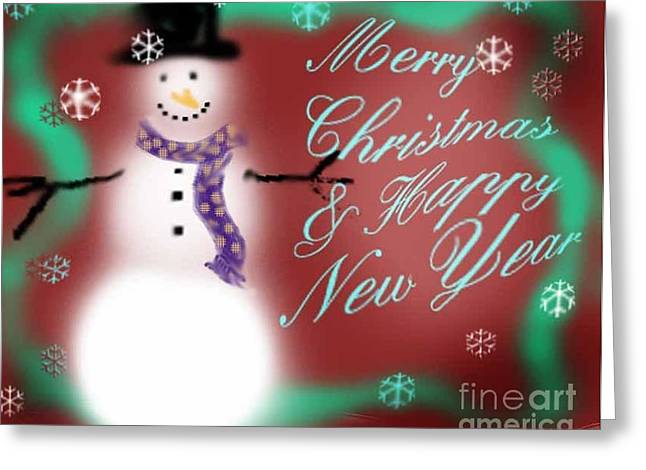 Mother And Child Greeting Cards Greeting Cards - Snowmans Merry Christmas Greeting Card by Genevieve Esson