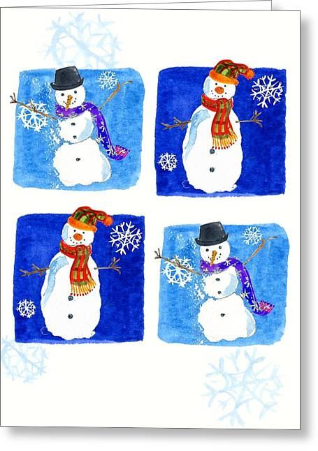 Snowmen Greeting Card by Anna Platts