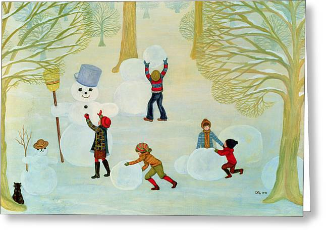 Winter Fun Paintings Greeting Cards - Snowmen Greeting Card by Ditz