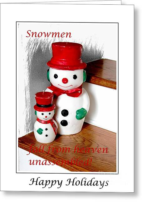 Winter Solstice Greeting Cards Greeting Cards - Snowmen - Greetings - Happy Holidays Greeting Card by Barbara Griffin