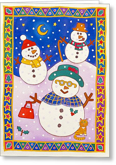 Snowmen In The Snow  Greeting Card by Cathy Baxter