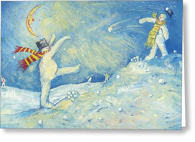 Snowball Fight Greeting Cards - Snowmens Midnight Fun Greeting Card by David Cooke