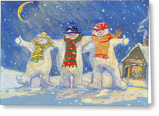 Snowman Christmas Card Greeting Cards - Snowmens Night Out, 2008 Gouache Greeting Card by David Cooke