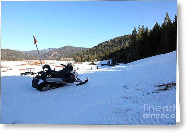 Snowmobile Greeting Cards - Snowmobile at Squaw Valley USA 5D27636 Greeting Card by Wingsdomain Art and Photography
