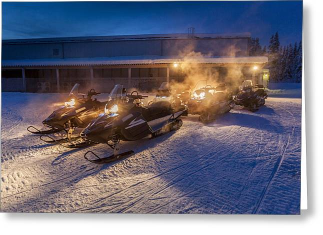 Temperature Greeting Cards - Snowmobiles In The Freezing Cold Greeting Card by Panoramic Images
