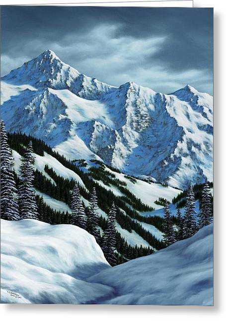 Snowscape Paintings Greeting Cards - Snowpack Greeting Card by Rick Bainbridge