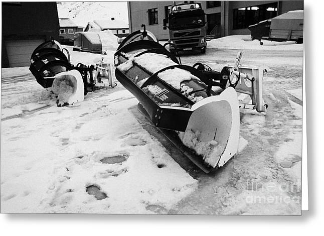 Honningsvag Greeting Cards - snowplough attachments Honningsvag finnmark norway europe Greeting Card by Joe Fox