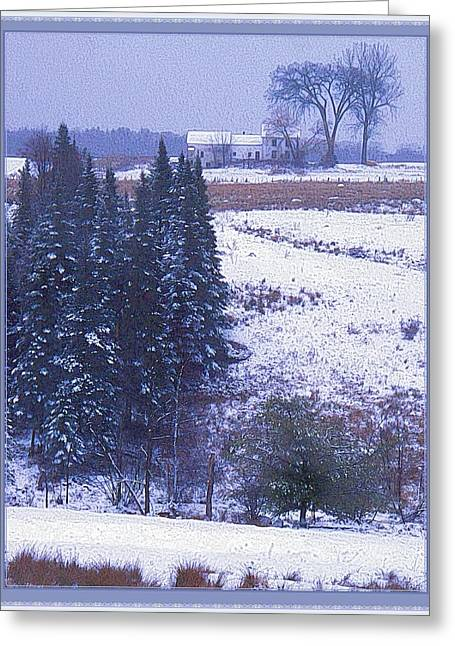 Maine Farmhouse Greeting Cards - Snows Arrival Greeting Card by Joy Nichols