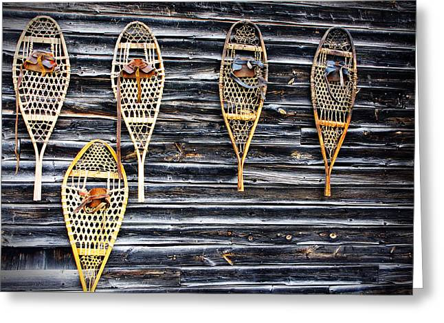 Norman Pogson Greeting Cards - Snowshoes On A Wooden Barn Greeting Card by Norman Pogson