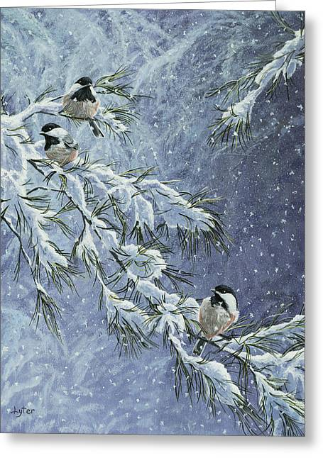 Pine Needles Paintings Greeting Cards - Snowstorm Chickadees Greeting Card by Christopher Lyter