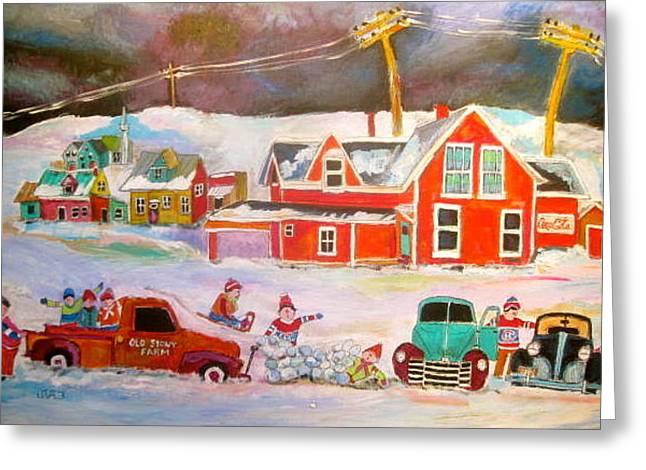 Litvack Naive Greeting Cards - Snowstorm Helpers Montreal Memories Greeting Card by Michael Litvack