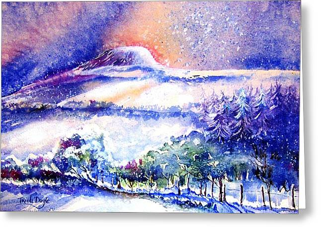Snow Drifts Paintings Greeting Cards - Snowstorm over Eagle Hill Hacketstown  Greeting Card by Trudi Doyle