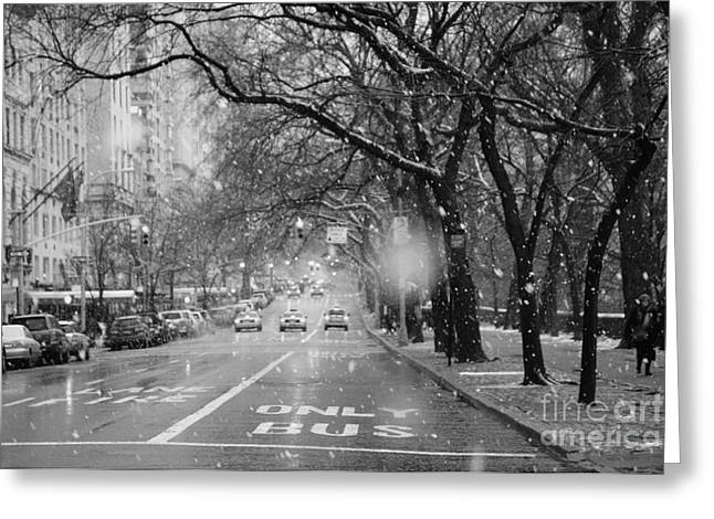 Gotham City Greeting Cards - Snowy Afternoon on Fifth Avenue Greeting Card by Anahi DeCanio