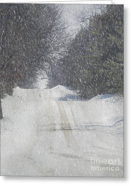 Snowy Roads Mixed Media Greeting Cards - Snowy Alpine Road Greeting Card by Keith Bell