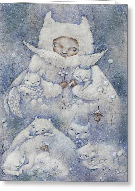 Snowy And Tender Greeting Card by Anna Petrova