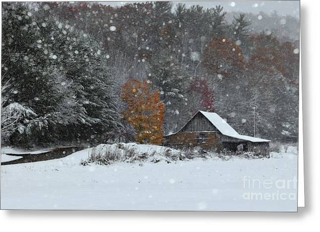 Snow Drifts Greeting Cards - Snowy Barn Greeting Card by Benanne Stiens