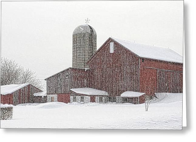 Lemon Art Greeting Cards - Snowy Barn Greeting Card by Denise Boyce