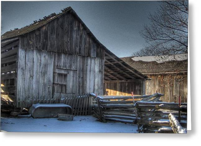Split Rail Fence Greeting Cards - Snowy Barn Greeting Card by Jane Linders