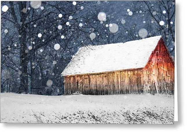 Shed Digital Art Greeting Cards - Snowy Barn Greeting Card by Kelly Schutz