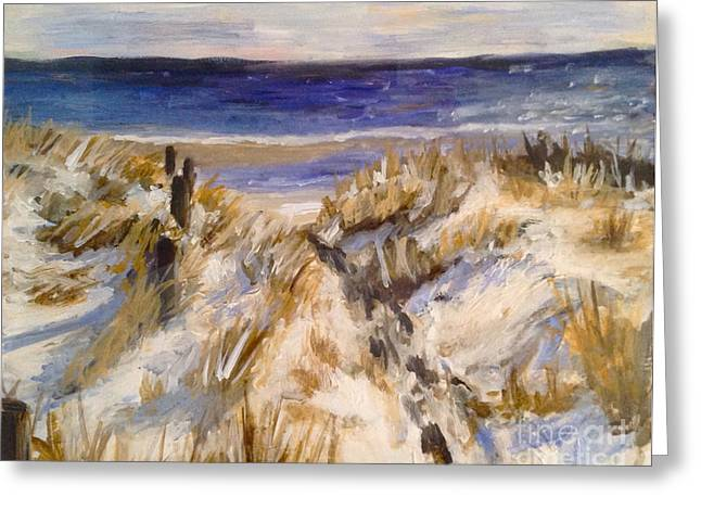 Dennis Ma Paintings Greeting Cards - Snowy Beach Day Greeting Card by Catherine Maroney