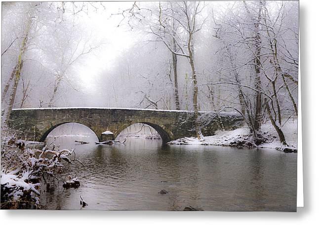 Snowy Bells Mill Road Bridge Greeting Card by Bill Cannon