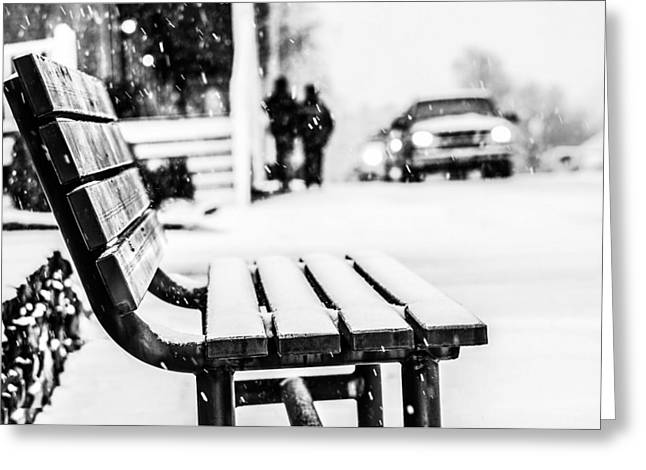 Snow Abstract Greeting Cards - Snowy Bench Greeting Card by Shelby  Young