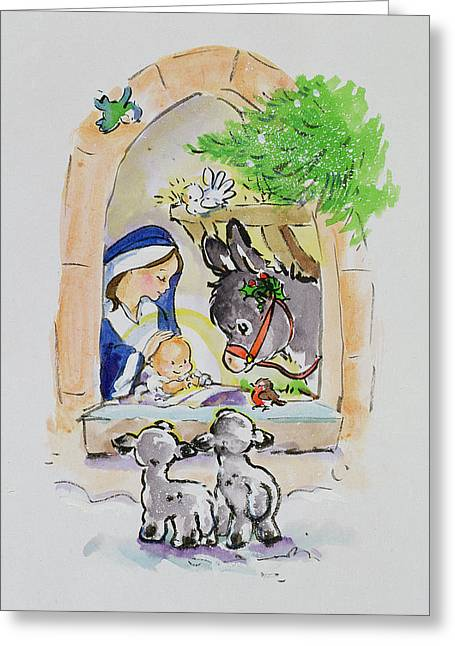 Donkey Paintings Greeting Cards - Snowy Bethlehem Greeting Card by Diane Matthes