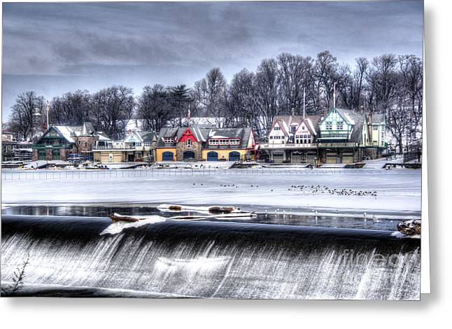 Williams Dam Greeting Cards - Snowy Boathouse Row Greeting Card by Mark Ayzenberg