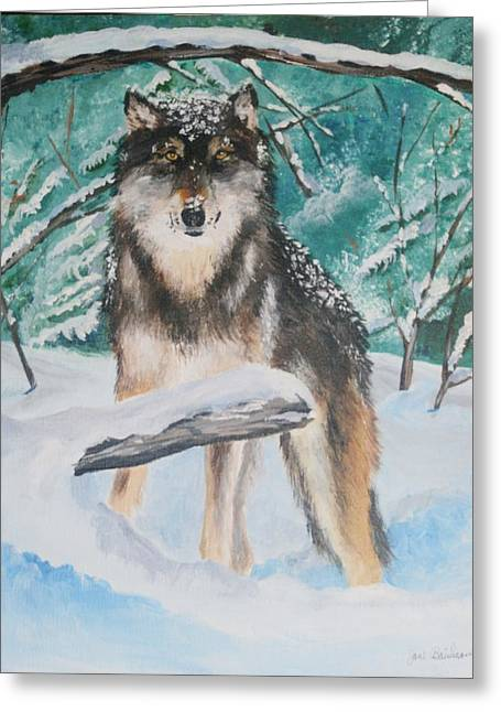 Wolf Pastels Greeting Cards - Snowy Boy Greeting Card by Jane Baribeau