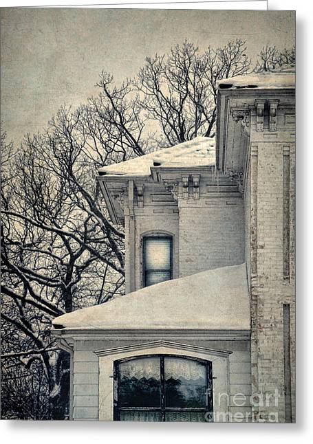 Winter Scenes Rural Scenes Greeting Cards - Snowy Brick House Greeting Card by Jill Battaglia